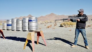 Download How many beer kegs does it take to stop a 50cal bullet? Video