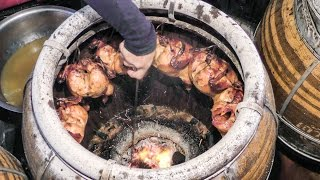 Download Thailand Street Food. Roasted Chicken in Charcoal Oven. Bangkok Video