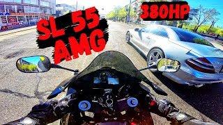 Download ЗАРУБА С МЕРИНОМ    MERCEDES SL 55 AMG 5.0 V8 (380hp) vs CBR600RR Video