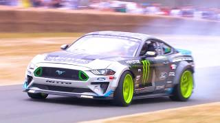Download Vaughn Gittin Jr. drifts his Ford Mustang RTR at Festival of Speed 2018 Video