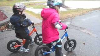 Download Kids on their Strider balance bikes Video