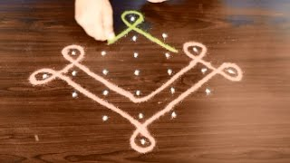 Download neli kolam with dots - sikku kolam - melikala muggulu - easy pulli kolam with 7 dots Video