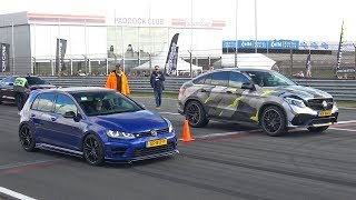 Download VW Golf 7 R vs BRABUS GLE63 S AMG vs Nissan GT-R Switzer P800 Video