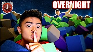 Download Overnight Challenge in TRAMPOLINE PARK Foam Cubes! Video