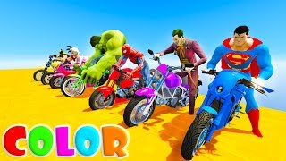 Download LEARN COLOR MOTORCYCLES and MSCLE CAR Funny Cartoon for kids and babies 3D animation Video