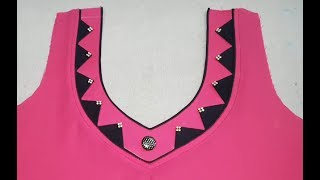 Download Latest Front V Neck Designs Cutting and Stitching Video