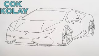 Download ÇOK KOLAY LAMBORGHİNİ ARABA ÇİZİMİ - Basit Spor Araba Çizimi - How to Draw a Lamborghini Car Video