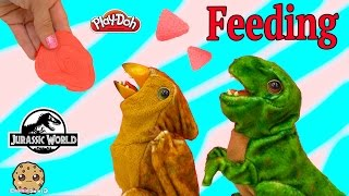 Download Feed Playdoh Meat to Electronic Jurassic World Baby Dinosaurs Tyrannosaurus REX - Cookieswirlc Video