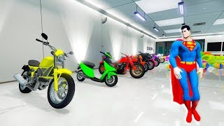 Download LEARN COLORS for kids with SUPERMAN MOTORBIKES Garage 11x colors for baby! Video