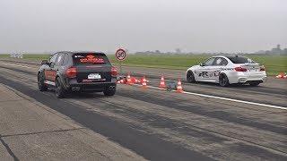 Download Porsche Cayenne Gemballa GT850 Biturbo vs BMW M3 F80 Video