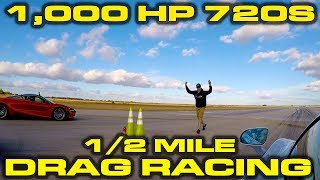 Download 1,000 Horsepower McLaren 720S vs Stock 720S 1/2 mile Drag Racing at Wannagofast Video