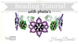 Download Easy Beaded Flower Bracelet Beading Tutorial by HoneyBeads1 (Photo tutorial with twin beads) Video