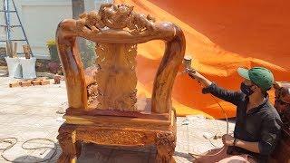 Download Sơn mờ Pu 50% cho ghế cẩm lai campuchia cột 16 phần 1 - Painted PU wooden chair Video