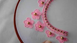 Hand embroidery aplic work sleave design tutorial rilli work