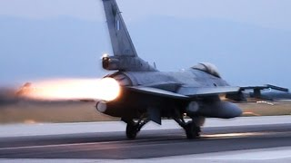 Download HAF F-16 | Dusk Takeoffs with Afterburner | Volos Airport | Loud F16 in Action Video