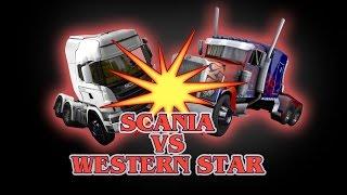Download ETS 2 - Scania (Galvatron) VS Western Star (Optimus Prime) - TRANSFORMERS - Peterbilt 389 Video