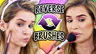 Download FULL FACE using OPPOSITE BRUSHES Challenge! (OMG this was so hard) Video