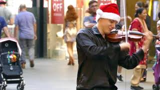 Download (Christmas Greetings) - Busker Street Busker Playing Violin a Pitt Street Mall Sydney Australia Video