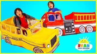 Download Ryan Pretend play with School Bus Tent and Fire Truck Vehicle Video