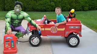 Download Little Heroes Hulk the Superhero, the Kid Firemen and The Gas Tank Confusion Funny Kids YouTube Vid Video