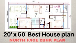 Download 20'x50' North face 2bhk House Plan Explain in Hindi Video