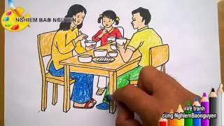 Download Vẽ gia đình bé đang ăn cơm/How to draw Family is eating Video