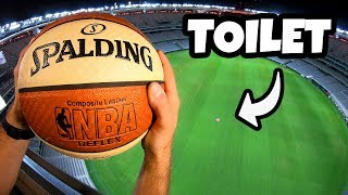 Download Can We FLUSH a BASKETBALL in a TOILET from a STADIUM ROOF? Video