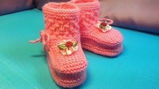 Download Вязание спицами . Нежные розовые пинетки #22 Video