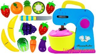 Download Learn Fruits & Vegetables with Toy Mixer Playset & Wooden Velcro Cutting Toys for Kids Preschoolers Video