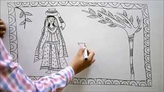 Download madhubani painting -a lady in a village Video