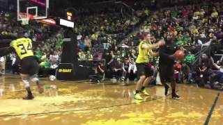 Download Oregon Ducks football players vs. coaching staff basketball scrimmage Video