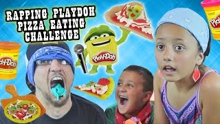Download BLINDFOLD PIZZA PLAYDOH CHALLENGE w/ RAPPING & EATING!?!? It Tastes So Like Totally Yucky! Video