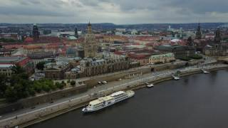 Download Dresden from above Elbe River + Viking Beyla Video
