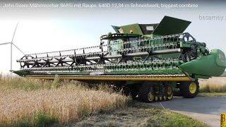 Download John Deere Mähdrescher S685i -12,34m Schneidwerk-biggest combine harvester- Weizen dreschen / mähen Video