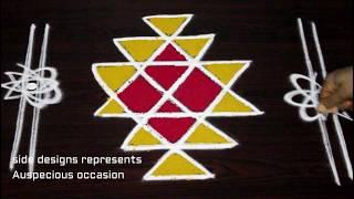 Download How to Draw Kubera Kolam - Kubera rangoli for the blessings of Lord Kubera - Kubera muggu designs Video