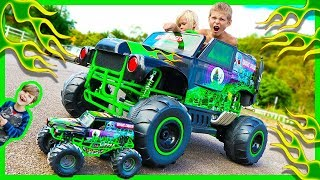 Download Power Wheels Ride on Monster Truck Grave Digger CRUSHES RC Monster Truck - Surprise Toy Unboxing Video