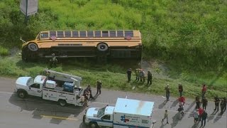 Download School bus crashes with students on board near Crosby, Texas Video