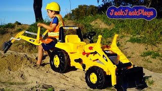 Download Backhoe Ride On Tractor Surprise Toy Unboxing, Kids Playing with Construction Trucks Video