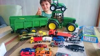Download Vídeo juguetes para Niños. Vehículos SIKU, tractor John Deere BRUDER, coches HOT WHEELS, Toys kids Video