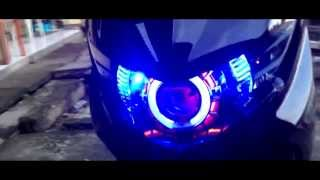 Download My Yamaha Mio Soul GT with double angle eyes HID Xenon projector Video