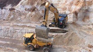 Download Cat 349E Excavator Loading Semi Trucks And Hydrema Dumper Video