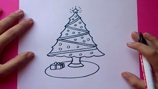 Download Como dibujar un arbol de navidad paso a paso   How to draw a Christmas tree Video