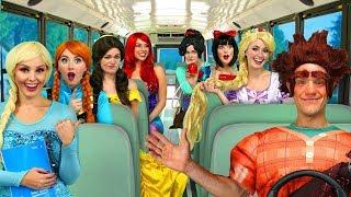 Download RALPH'S DISNEY PRINCESS CARPOOL BUS RIDE. (Vanelope, Ariel, Rapunzel, Belle, Elsa and Anna) Video