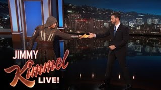 "Download Deliveryman Brings Jimmy Kimmel The New ""Assassin's Creed″ Trailer Video"