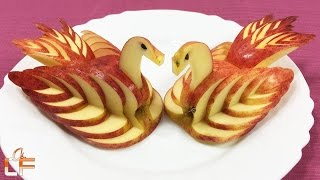 Download How to Make Apple Swan Garnish - Fruit Carving Video For Beginners Video