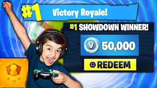 Download 5 YEAR OLD LITTLE BROTHER ATTEMPTS TO WIN 50,000 V-BUCKS IN FORTNITE SOLO SHOWDOWN! (JACKPOT!) Video
