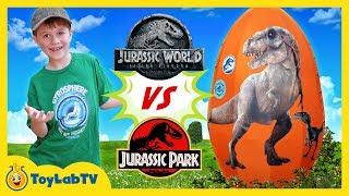 Download Jurassic World Fallen Kingdom vs Jurassic Park Dinosaurs! Giant T-Rex Dinosaur & Surprise Egg Toys Video