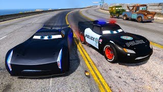 Download Police Car Lightning McQueen vs Jackson Storm - Hot pursuit - Police Chase - Cars and Friends Video