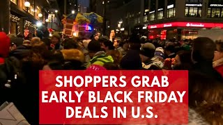Download Black Friday 2017: Hundreds of shoppers rush to grab early deals in New York Video