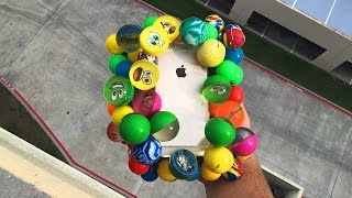 Download Can Bouncy Balls Protect iPhone 6 from 100 FT Drop Test onto Concrete? - GizmoSlip Video
